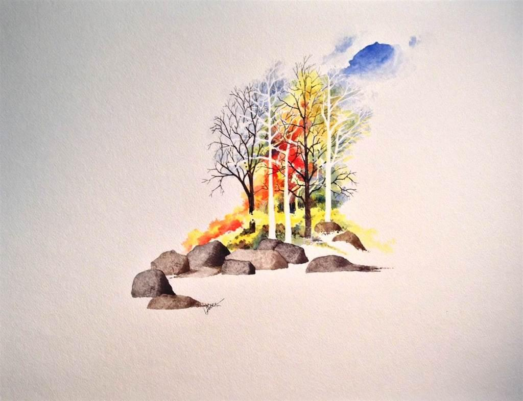 "Edgar do Valle.  Trees.  Watercolor on Paper.  18""x23.5"""