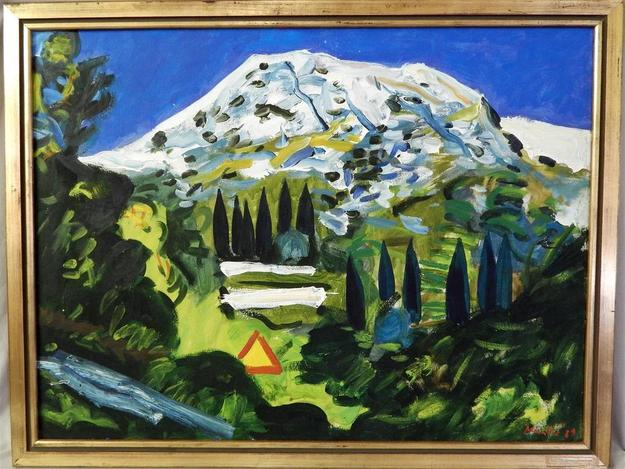 This visually arresting oil on canvas scene of a snow-covered mountain with trees and a green valley by Edo Murtic will be sold Nov.  22.