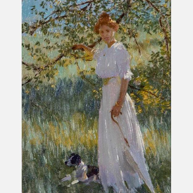 The sale will feature multiple offerings from Edward Dufner (American, 1871-1957), to include this oil on board painting titled Sunlit Portrait, 9 ¼ inches by 7 ¾ inches (est.  $2,000-$4,000).