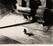 Edward Hopper, Night Shadows, 1921, Etching, Collection of Dr.  Dorrance Kelly
