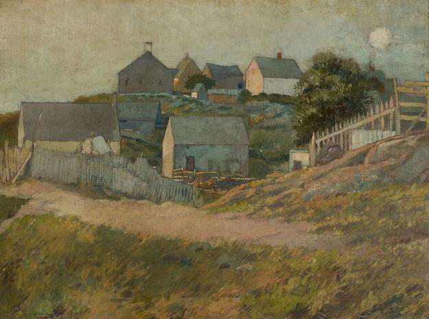 George Wharton Edwards (American, 1859-1950) Farmhouses on Monhegan Island, n.d.  Oil on canvas mounted on board.  18 1/2 x 25 in.  Anonymous Gift, Bruce Museum Collection 80.23.01