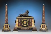 Egyptian Revival Clock Garniture