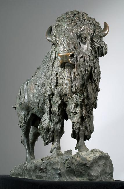 """Elk Buffalo"" by Henry Merwin Shrady, sold for $276,000 at Eldred's Spring Americana, Paintings & Sporting Art Auction"