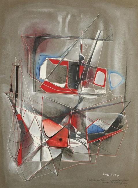 "Jimmy Ernst, ""Abstract"" (dedicated to ""Charles and Minnie, my youngest old friends), 1949, Gouache on paper, 22 x 16 inches"