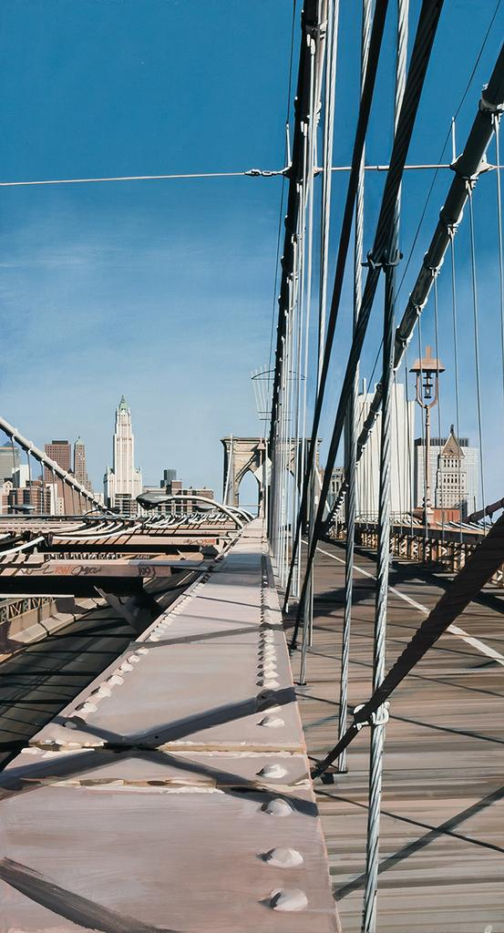 No, this isn't a photo of the Brooklyn Bridge, it's a painting of it, done by the renowned photo-realist Richard Estes (est.  $40,000-$60,000).
