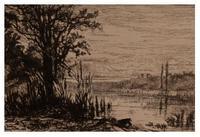 "Eliza Pratt Greatorex, ""The Pond (Cerney-la-ville),"" 1880, etching (detail"