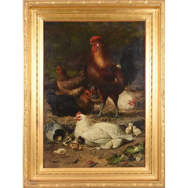 Oil on canvas painting by Eugene Remy Maes (Belgian.  1849-1931), titled Chickens (early 1900s) and depicting a rooster, five hens, chicks, a sparrow and a salt glaze jug, 47 inches by 53 inches (framed).