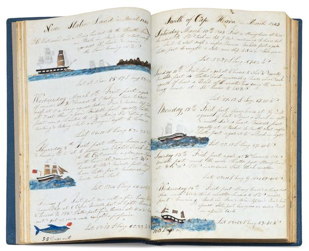 Exceptional illustrated journal covering a whaling voyage from Nantucket to the Pacific