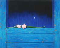 "Miguel Florido - Gladiola on Blue Door, 2010, oil on canvas, 31"" x 39"""