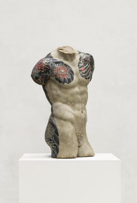 Kouros by Fabio Viale, 2016, White marble with pigment (80 x 54 x 31 cm)