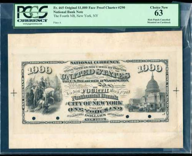 This extremely rare U.  S.  National Bank Note for $1,000, dated March 1, 1864, will be sold on May 29th.