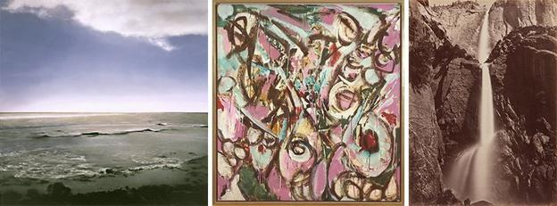 Left: Gerhard Richter, Seestück (Seascape), 1998; oil on linen; 114 1/4 x 114 1/4 in.  (290.2 x 290.2 cm); The Doris and Donald Fisher Collection at the San Francisco Museum of Modern Art and the San Francisco Museum of Modern Art; © Gerhard Richter; photo: Ben Blackwell; Middle: Lee Krasner, Four, 1957; oil on cotton duck; 58 1/2 x 53 3/4 in.  (148.59 x 136.53 cm); fractional and promised gift of Barbara and Gerson Bakar; © Pollock-Krasner Foundation / Artists Rights Society (ARS), New York