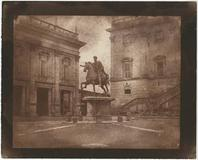 Rev.  Calvert Richard Jones (Welsh, 1802-1877) Marcus Aurelius on the Capitoline Hill, Rome, 1846.  Salt print from a calotype negative 16.7 x 21.3 cm on 19.7 x 24.8 cm paper.