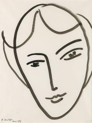 Henri Matisse's Tête de jeune fille, brush and black ink on paper from 1950 is the sale's top lot, with a presale estimate of $300,000 to $500,000.