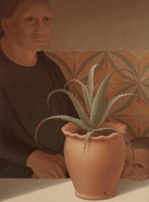 George Tooker, Pot of Aloes, 1974, Egg Tempera, 23 1⁄2 x 17 1⁄2 inches.  ACA Galleries.