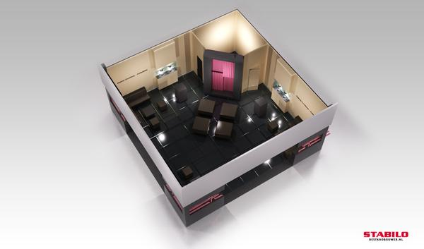 Rendering of the AXA Art Lounge space at TEFAF 2011.