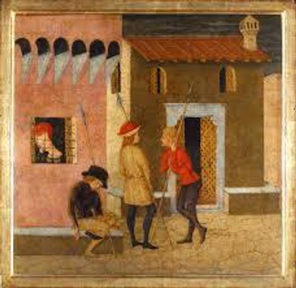 Giovanni of Ser Giovanni, called Lo Scheggia, fragment with imprisoned woman (possibly from the Story of Lisabetta da Messina in the Decameron by Boccaccio), ca.  1440–50.  Tempera on wood panel, 18 1/8 x 11 x 1 9/16 inches.  Museo Stibbert, Firenze, 306