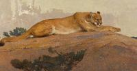 "Bob Kuhn's ""Resting Cat"", a 22 x 42 acrylic on board estimated at $250,000-$300,000"