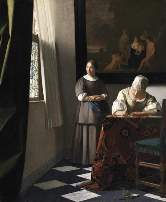 Johannes Vermeer, A Lady Writing a Letter, with her Maid , ca.  1670, Oil on canvas, 72.2 x 59.7 cm.  Dublin, National Gallery of Ireland, Sir Alfred et Lady Beit, 1987 (Beit Collection) © Dublin, National Gallery of Ireland