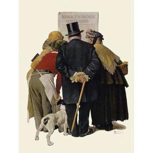 "With an asking price of $3.4 million, M.S.Rau Antiques & Fine Art is exhibiting Norman Rockwell's oil on canvas, ""The Common Touch [Stock Exchange Quotations],"" 1930, at the Palm Beach Jewelry, Art & Antique Show, Feb.  17-21, 2012."