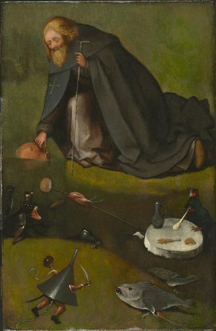 Hieronymus Bosch, Netherlandish (ca.  1450–1516).  The Temptation of St.  Anthony, ca.  1500-1510.  Oil on panel (oak), 15 3/16 x 9 7/8 inches (38.6 x 25.1 cm).  The Nelson-Atkins Museum of Art, Kansas City, Missouri.  Purchase: William Rockhill Nelson Trust, 35-22