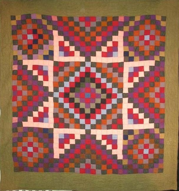 BOWMANSVILLE MENNONITE PIECED STAR, an unusual version in wool of a pattern favored by a S.E.  Penn.  community.