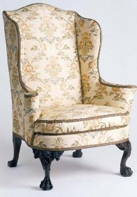 Easy chair, made in Charleston, South Carolina, 1760-70; Mahogany, Cyprus, and Tulip poplar.  1960.1058.  Gift of Henry Francis du Pont.