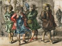 Reginald Marsh (1898–1954) New York City Women.  Tempera and watercolor on paper, 22 5/8 x 31 3/8 inches.  Questroyal Fine Art.