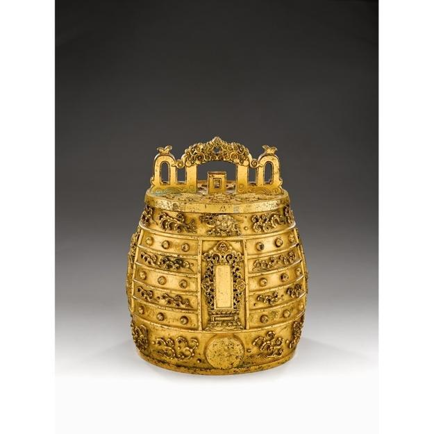 One of the highlights from the auction is lot 65, a heavily cast gilt-bronze bell, estimated at $100,000-150,000