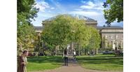 Rendering of the new Harvard Art Museums building from Harvard Yard.