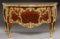 "1.  Lot 170: Paul Sormani Louis XV style commode, the shaped and molded breche d'alep marble top over a bombe shaped two drawer cabinet, inlaid with elaborate floral marquetry and mounted with exceptional quality dore bronze.  The lock plate of top drawer stamped, ""Paul Sormani 10r Charlot, Paris"" and ""P.  Sormani Paris"" stamped into the top of the front legs under the marble.  Paul Sormani (Italian/French, 1817-1877)."