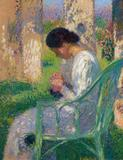 Dr.  Michael Noth - Internationaler Kunsthandel , Henri Jean Guillaume Martin, The Sewing Lisette in an Arbour at Marquayrol.  Oil on canvas