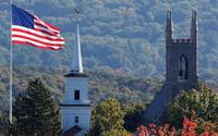 View of steeples in Newtown, Conn.