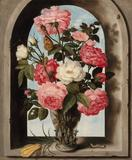 Ambrosius Bosschaert the Elder (Antwerp 1573-1621 The Hague)Still Life with Roses in a Glass Vase, ca.  1619Oil on copper11 x 9 inches (28 x 23 cm)The Rose-Marie and Eijk van Otterloo Collection