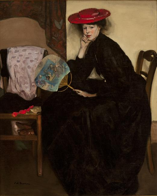 Alfred Maurer, Model with a Japanese Fan (Jeanne), c.  1902-1904, oil on canvas, Karen and Kevin Kennedy Collection
