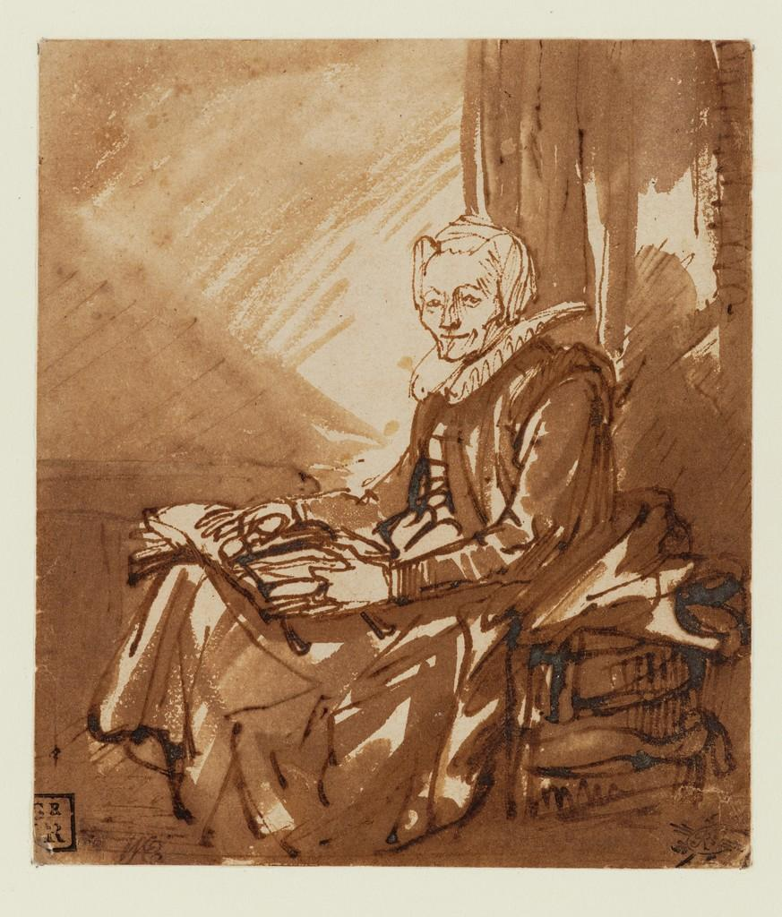 Rembrandt van Rijn, Seated Woman with an Open Book on her Lap, ca.  1639.  Drawing.  Museum Boijmans Van Beuningen (Collection Koenigs).