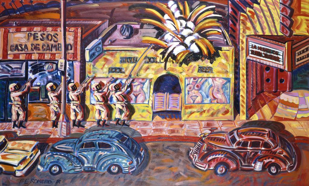 Death of Rubén Salazar, 1986.  Frank Romero (born 1941).  Oil on canvas, 72 1/4 x 120 3/8 inches.  Smithsonian American Art Museum, Museum purchase made possible in part by the Luisita L.  and Franz H.  Denghausen Endowment.  © 1986, Frank Romero.