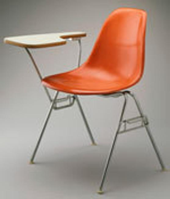 Charles Eames (U.S.A., 1907–1978) and Ray Eames (U.S.A, 1912–1988), Molded Fiberglass chair with table arm, for Herman Miller, Inc., 1960–61.  Fiberglass, fabric, metal, and plastic.  LA County Museum of Art, Los Angeles, Gift of the employees of Herman Miller, Inc., L.31.2.2015