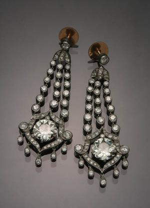 Pair of Belle Époque Tested Platinum and Diamond Pierced Pendant Earrings (Estimate: $20,000-$30,000)