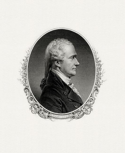 A Bureau of Engraving and Printing portrait of Alexander Hamilton as Secretary of the Treasury.