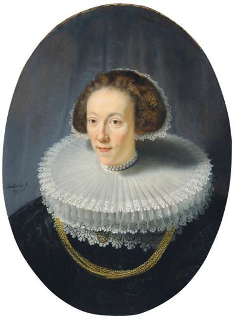 Rembrandt, Portrait of Petronella Buys, 1635.  Panel, 79.5 x 56.3 cm.  New York, The Leiden Collection