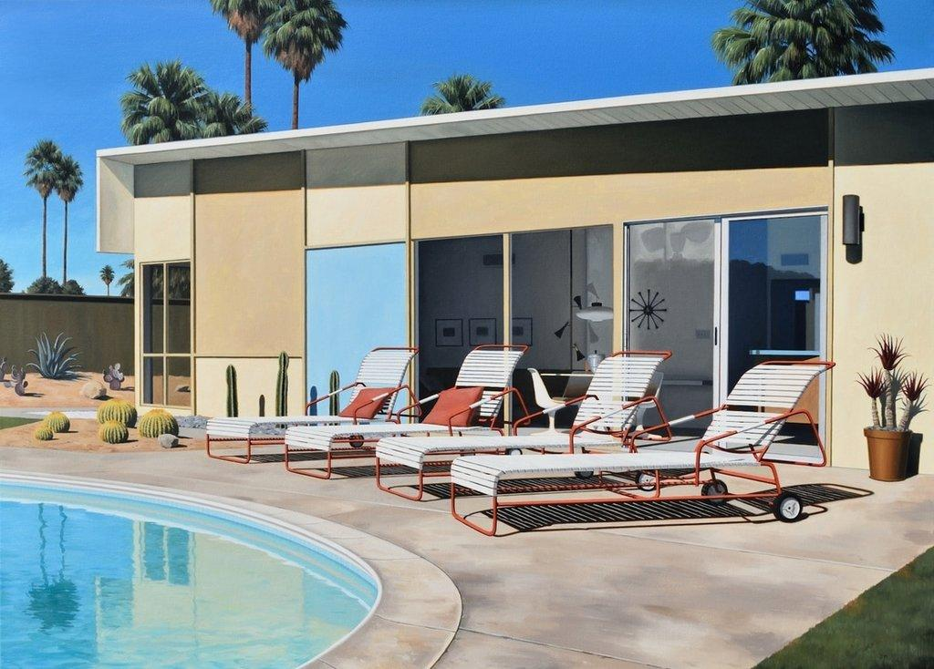 Danny Heller, Racquet Club Estates Lounging, 2017, oil on canvas, 33 x 46 inches