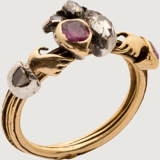 Gimmel and Fede Ring.  Western Europe, mid-18th century.  Gold, silver, diamond, ruby