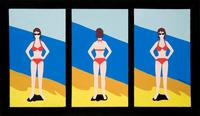 Marjorie Strider (b.  1934) Bikini Triptych, 1960 Acrylic on canvas 28 x 16 inches (each) 33 5/8 x 57 1/4 inches (framed) from Hollis Taggart