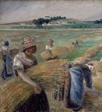 Detail of The Harvest, 1882, by Camille Pissarro.  Tempera on canvas, 27 11/16 x 49 9/16 in.  (70.3 x 126 cm).  The National Museum of Western Art, Tokyo, donated by the heirs of Mr.  Kojiro Matsukata, P.1984-3