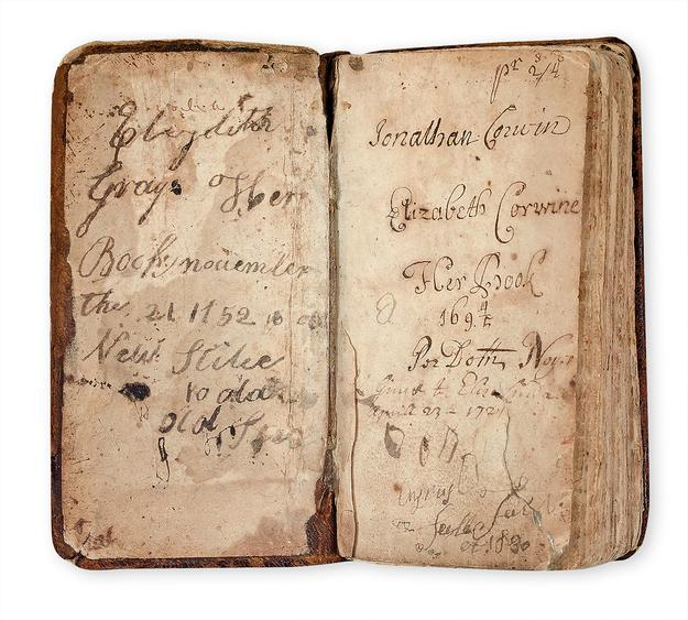 Lot 84, Insription.  Previously unknown seventh edition of the Bay Psalm Book, published in Boston, 1693, with provenance tied to Salem witch trial judge Jonathan Corwin, as well as descendants of John Proctor.  $221k