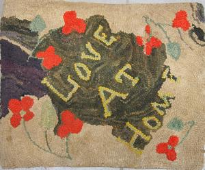 LOVE AT HOME, a smile inducing antique hooked rug from Maine