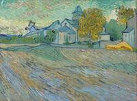 "Elizabeth Taylor's Vincent Van Gogh oil ""Vue de l'Asile et de la Chapelle de Saint-Rémy"" sold for $16 million at Christie's."