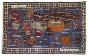 World Map Rug, Knotted wool, Western Afghanistan.  Acquired in Peshawar (Pakistan), 1989, 37 1/2 x 62 1/4 in.  (95 x 158 cm).