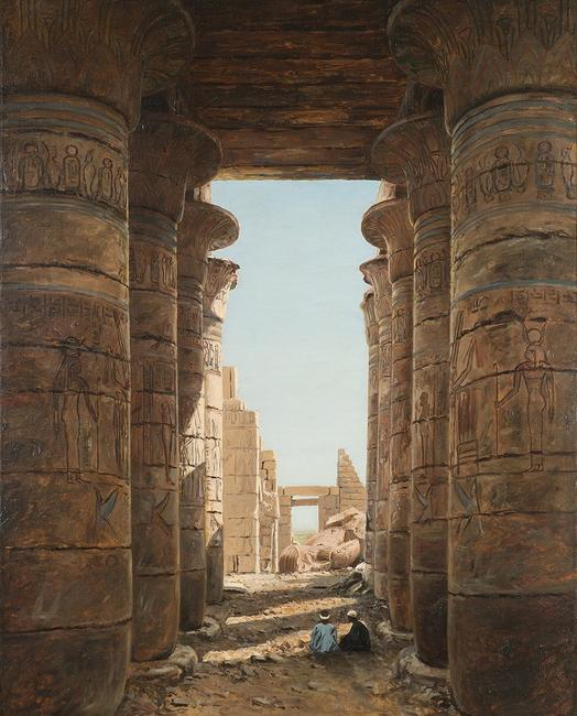 Lockwood de Forest (1850-1932) Ramesseum at Thebes, Egypt, circa 1876, oil on canvas, 37 1/8 x 29 2/8 inches